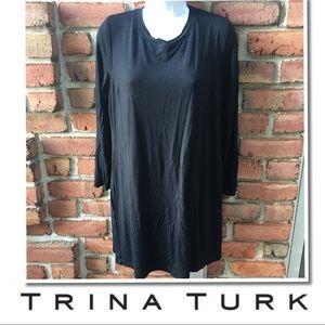 TRINA TURK Black Long sleeve basic dress size XL